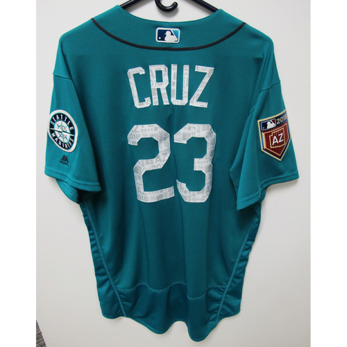 Photo of Seattle Mariners Nelson Cruz Team Issued 2018 Spring Training Green Jersey