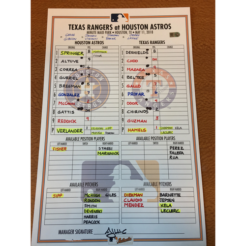 Photo of 2018 Game-Used Lineup Card - 5/11/18 vs TEX