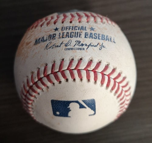 Photo of Authenticated Game Used Baseball: Single by Thairo Estrada against Elvis Luciano (Sept 14, 19 vs NYY). Top 7.