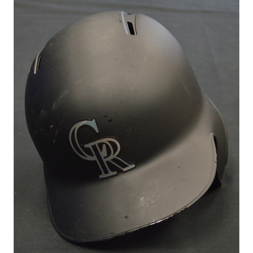 "Photo of Garrett ""G. HAMP"" Hampson Colorado Rockies Game-Used 2019 Players' Weekend Helmet"