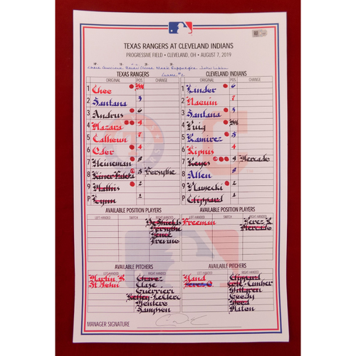 Photo of Game-Used Line-Up Card - August 7, 2019 - Texas Rangers @ Cleveland Indians