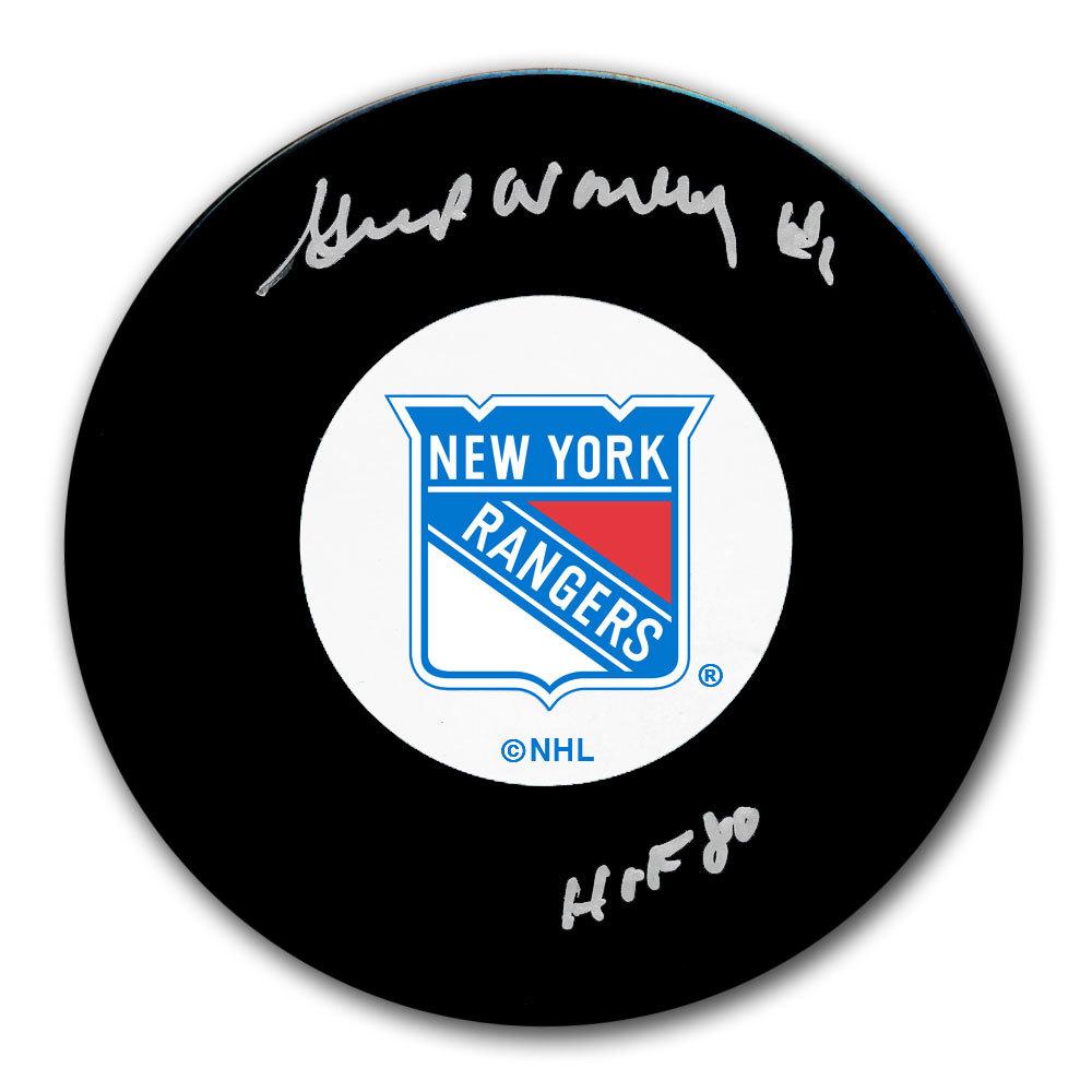 Gump Worsley New York Rangers HOF Autographed Puck