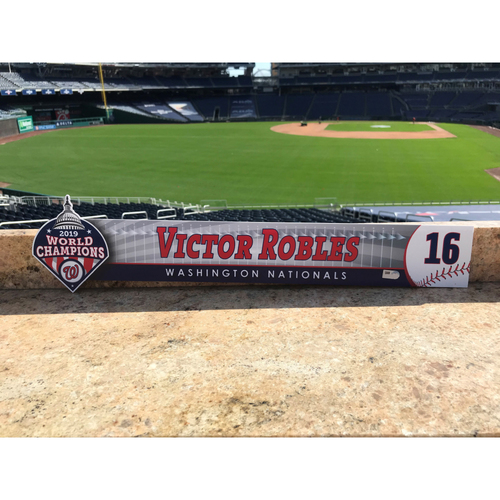 Photo of Victor Robles Game-Used 2020 Locker Tag
