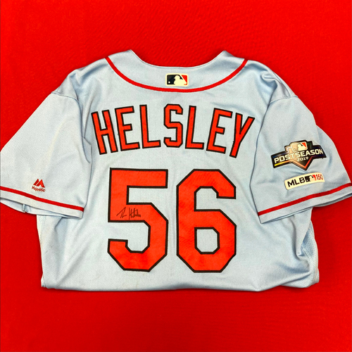 Photo of Ryan Helsley Autographed Team-Issued Road Alternate Jersey w/ 2019 Postseason Patch (Size 46)