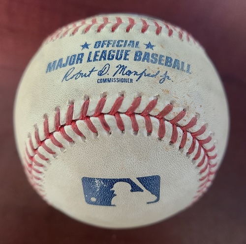 Photo of Authenticated Game Used Baseball: Single by Justin Smoak against Mike Minor (Apr 27, 2018 vs TEX). Bottom 3.