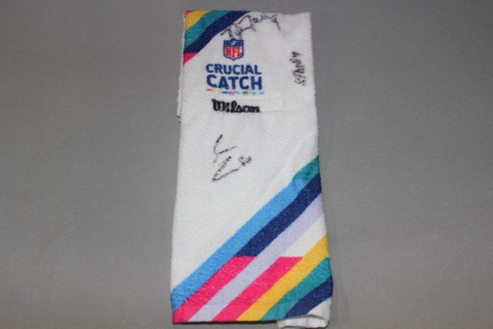 Crucial Catch - Chargers game issued QB towel signed by Nick Novak and 2 other team members (October 8, 2017)