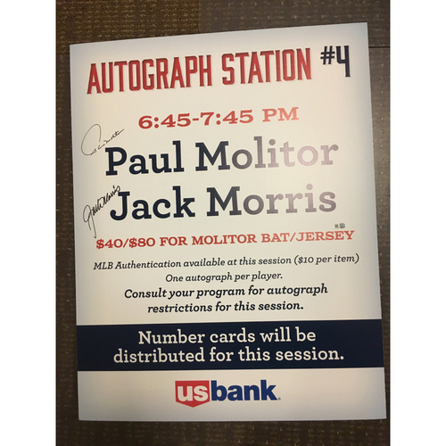 Photo of Molitor and Morris Autograph Sign