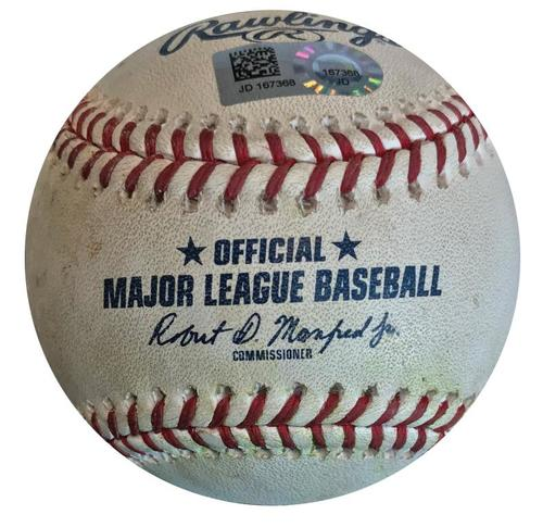 Photo of Game-Used Baseball from Pirates vs. Nationals on 7/10/18 - Adams K, Turner Walk, Murphy Single, Kieboom Single, Ball in Dirt to Reynolds