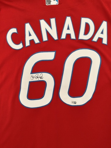"Photo of Authenticated Game Used and Autographed Jersey - #60 Jon Rauch (July 1, 2011: 1 IP with 0 Hits and 0 ER). Size 52. Name bar says ""Canada""."