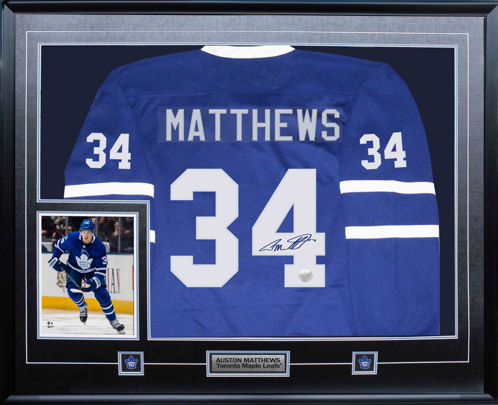 Auston Matthews Signed Jersey Framed with 8x10 Maple Leafs Blue Fanatics