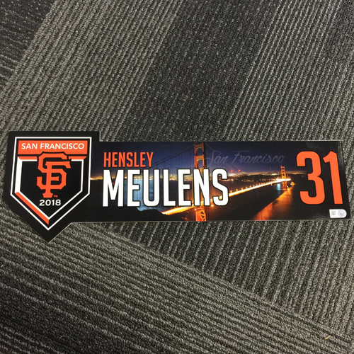 Photo of 2018 San Francisco Giants - Regular Season Game-Used Locker Tag - #31 Hensley Meulens