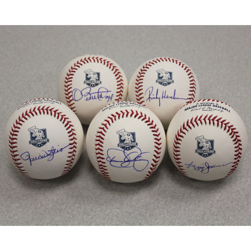 Photo of Rickey Henderson, Dennis Eckersley, Dave Stewart, Reggie Jackson & Rollie Fingers Autographed A's Hall of Fame Baseballs