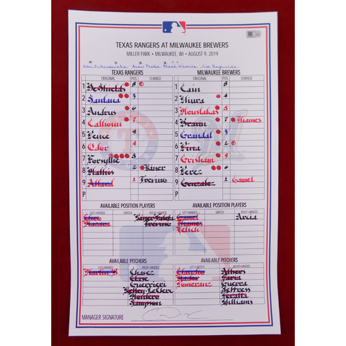 Photo of Game-Used Line-Up Card - August 9, 2019 - Texas Rangers @ Milwaukee Brewers