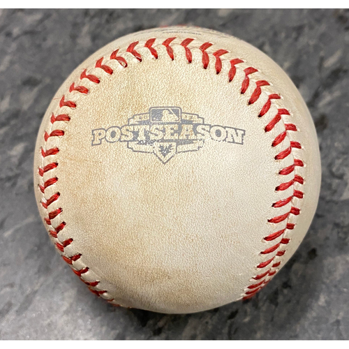 Photo of 2012 NLDS Game 1 Game Used Baseball used on 10/6 vs. Cincinnati Reds - T-9: Santiago Casilla to Zack Cozart - Pitch in the Dirt