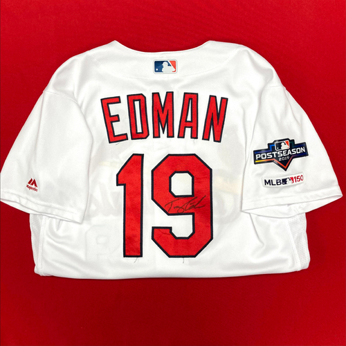 Photo of Tommy Edman Autographed Game-Used Home Jersey w/ 2019 Postseason Patch (Size 42) (6/23/19, STL v LAA) (9/4/19, STL v SF) (10/11/19, STL v WSH)