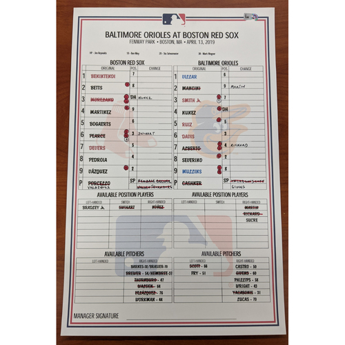 Photo of Red Sox vs. Orioles April 13, 2019 Game Used Lineup Card - Orioles Win 9 to 5
