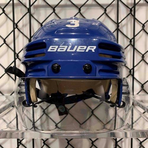 #3 Justin Holl Worn Blue Bauer Helmet