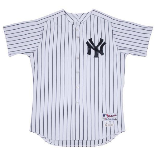 Photo of Chris Carter New York Yankees 2017 Spring Training Opening Day Game Used #48 Pinstripe Jersey (Size 50)