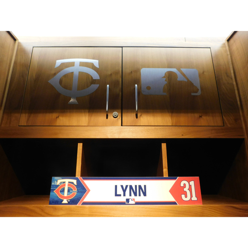 Photo of 2018 Lance Lynn Game-Used Locker Name Plate
