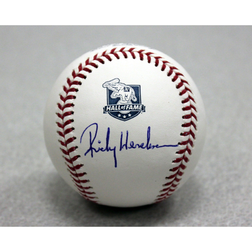 Photo of Rickey Henderson Autographed A's Hall of Fame Baseball