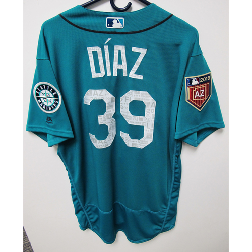 Photo of Seattle Mariners Edwin Diaz Team Issued 2018 Spring Training Green Jersey