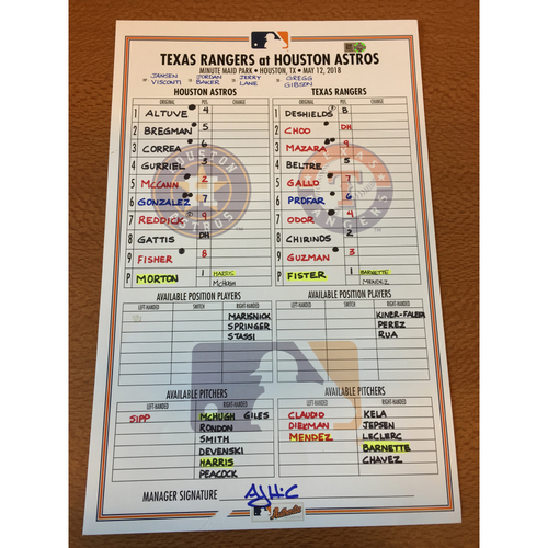 Photo of 2018 Game-Used Lineup Card - 5/12/18 vs TEX