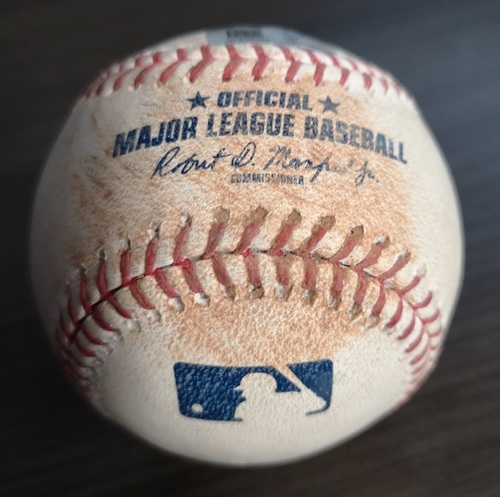 Photo of Authenticated Game Used Baseball: RBI Single by Didi Gregorius against T.J. Zeuch (Sept 15, 19 vs NYY). Top 3. Zeuch recorded his 1st MLB Win in the Game.