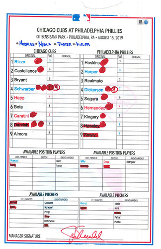 Photo of Game-Used Lineup Card -- Darvish 7 IP, 4 H, 10 K; Rizzo 22nd HR, Schwarber 28th HR -- Cubs at Phillies -- 8/15/19