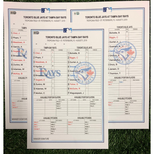 Photo of Replica LineUp Cards: August 5-7, 2019 v TOR - Bo Bichette MLB Extra Base Hit Record Game