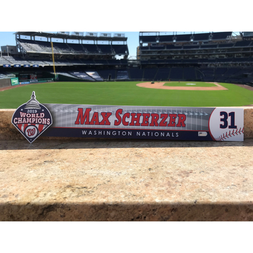 Photo of Max Scherzer Game-Used 2020 Locker Tag