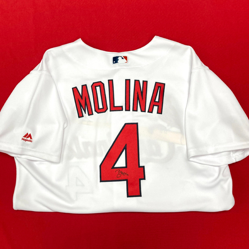 Photo of Yadier Molina Autographed Team-Issued Home Jersey (Size 46)