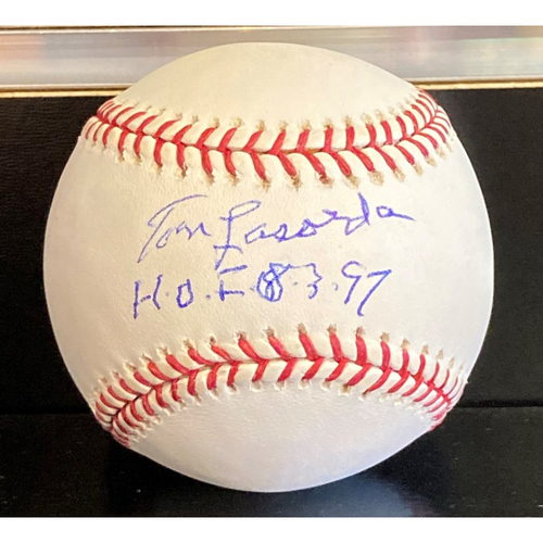 Photo of Tommy Lasorda Autographed Baseball with HOF Inscription