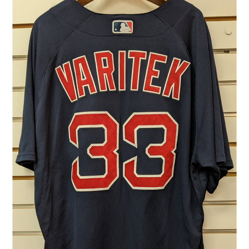 Photo of Jason Varitek #33 Team Issued Nike Navy Road Alternate Jersey