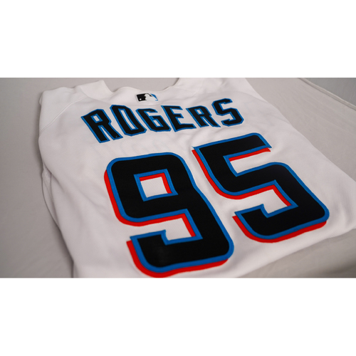 """Photo of Trevor Rogers Game-Used Jersey with Specialty """"Know Justice"""" base Designed by Sergio j. Quinonez - @illsurge - Jersey Size 48"""