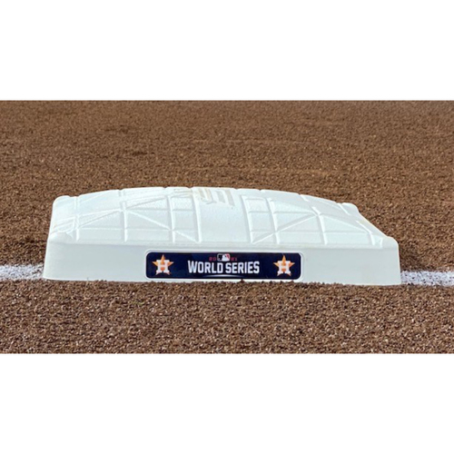 Photo of Game-Used Base - 2021 World Series - Atlanta Braves vs. Houston Astros - Game 1 - First Base - Used Innings 1-3