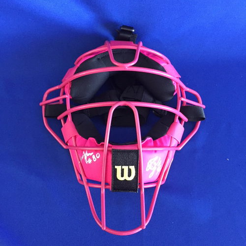 UMPS CARE AUCTION: 2017 Mother's Day Crew Signed Plate Mask - Not MLB Authenticated