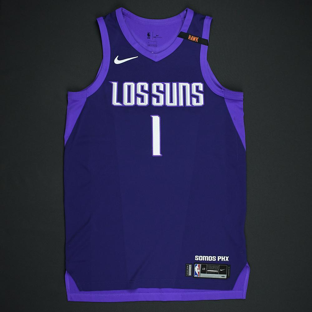 Devin Booker - Phoenix Suns - Game-Worn 'Los Suns' City Jersey - 2017-18 Season - Game-High 30 Points