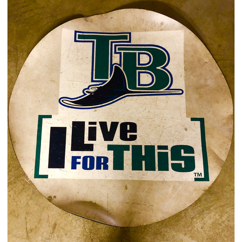 "Photo of Tampa Bay Rays On-Deck Circle: TB With Devil Ray & ""I Live for This"" - Local Pick-Up Only"