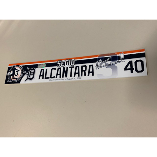 Photo of Team-Issued Alan Trammell Number Retirement Day Locker Name Plate: Sergio Alcantara