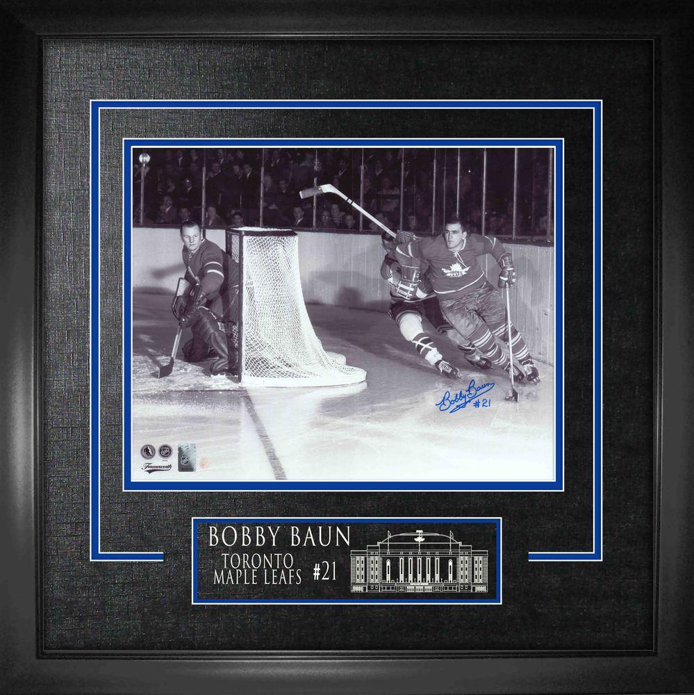 Bobby Baun Signed 16x20 Etched Mat Leafs B/W w Bower vs Rangers