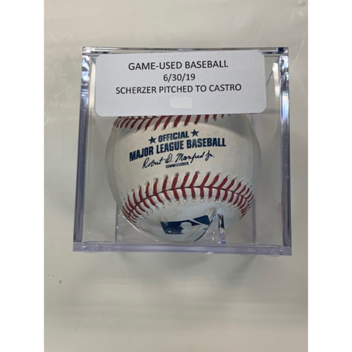 Photo of Game-Used Baseball: Max Scherzer Pitched Ball 6/30/19