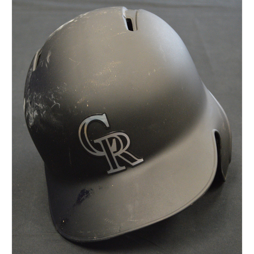 "Photo of Peter ""Lambo"" Lambert Colorado Rockies Game-Used 2019 Players' Weekend Helmet"