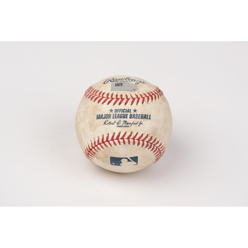 Photo of Game Used Baseball: Pitcher: Walker Buehler, Batter: Mike Trout - 2-Run Home Run - Bot 1 - 8-15-2020 vs. LAD