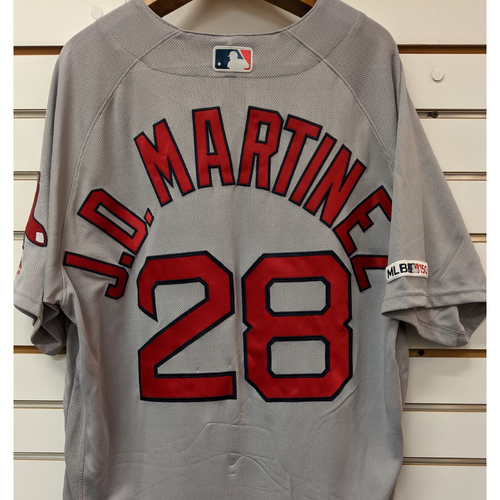 Photo of J.D. Martinez #28 Team Issued Gray Road Jersey