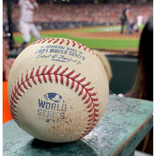 Photo of 2021 World Series - Atlanta Braves vs. Houston Astros - Game 1 - Pitcher: Framber Valdez, Batter: Austin Riley - Top 1, RBI Double to CF, Ozzie Albies Scores
