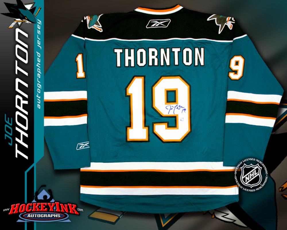 JOE THORNTON Signed RBK Premier Teal San Jose Sharks Jersey