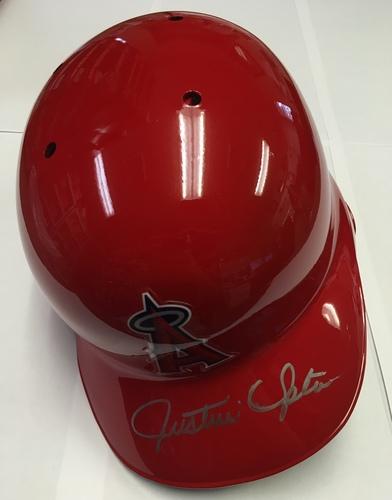 Photo of Justin Upton Autographed Angels Batting Helmet