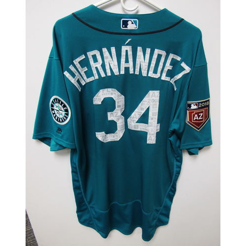 Photo of Seattle Mariners Felix Hernandez Team Issued 2018 Spring Training Green Jersey