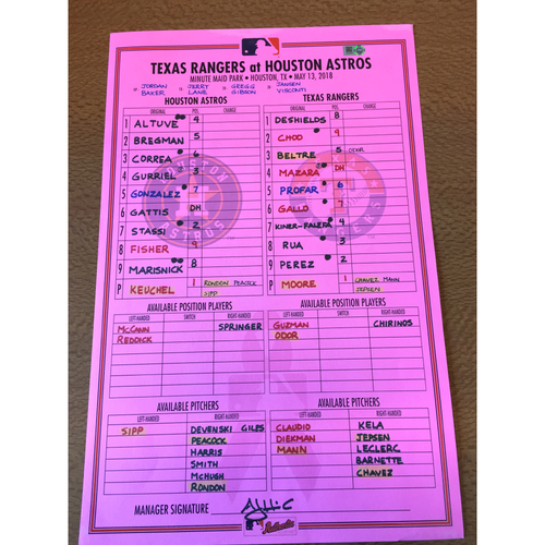 Photo of 2018 Mother's Day Lineup Card vs TEX