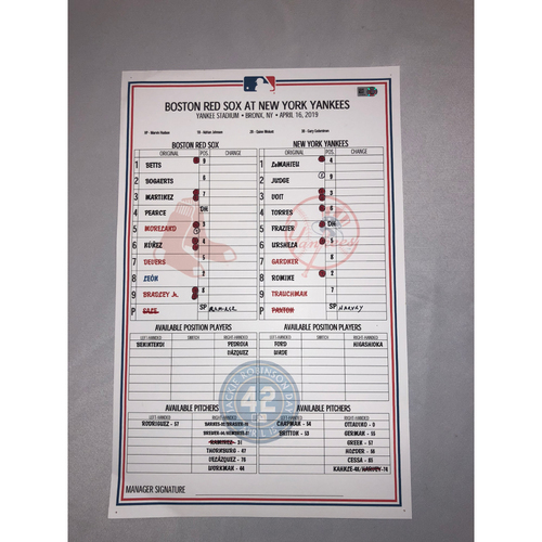 Photo of Boston Red Sox vs New York Yankees April 16, 2019 Game Used Lineup Card - Yankees Win 8 to 0